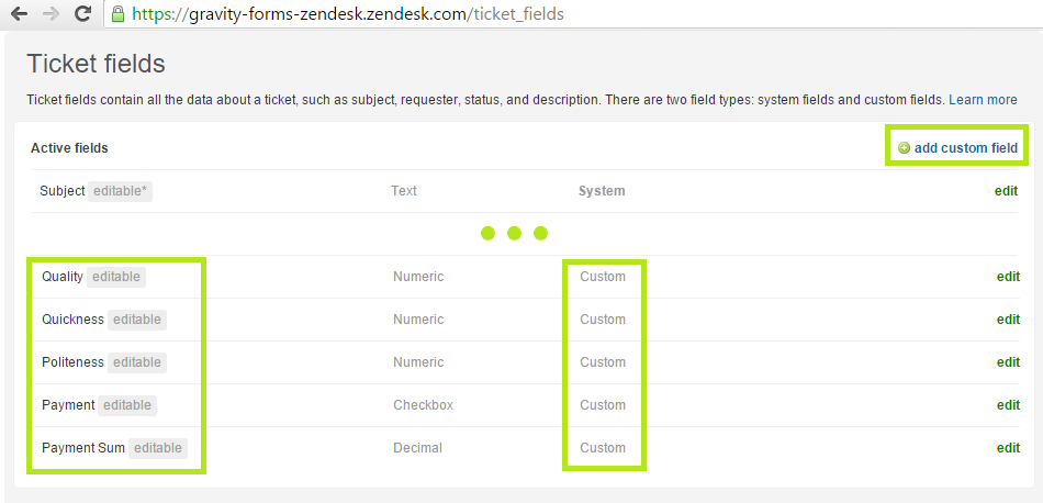 List of Zendesk ticket fields