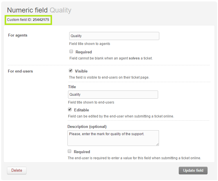 Creating a custom Zendesk ticket field
