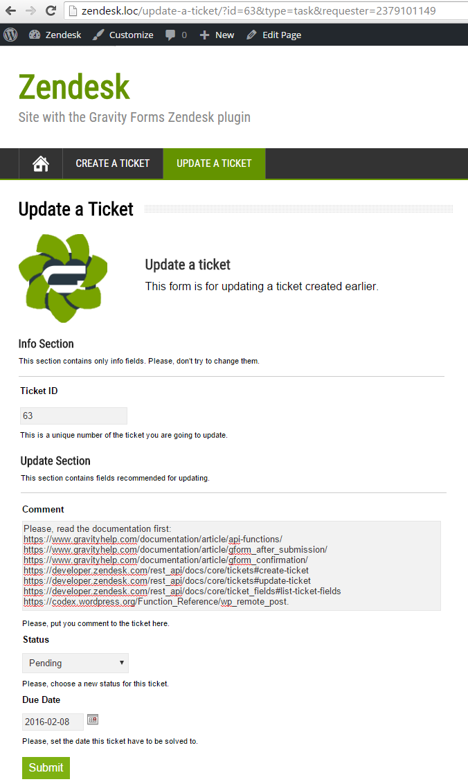 Filling the form 'Update a ticket' (status and due date)