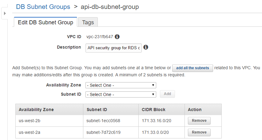 Custom DB security group